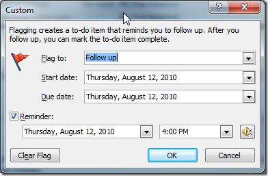 how to put a reminder on an email outlook